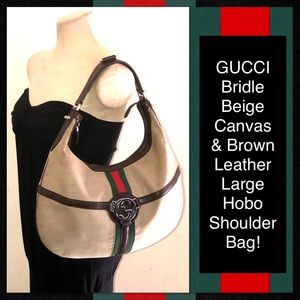 Fab GUCCI Bridle Large Canvas & Leather Hobo Bag!